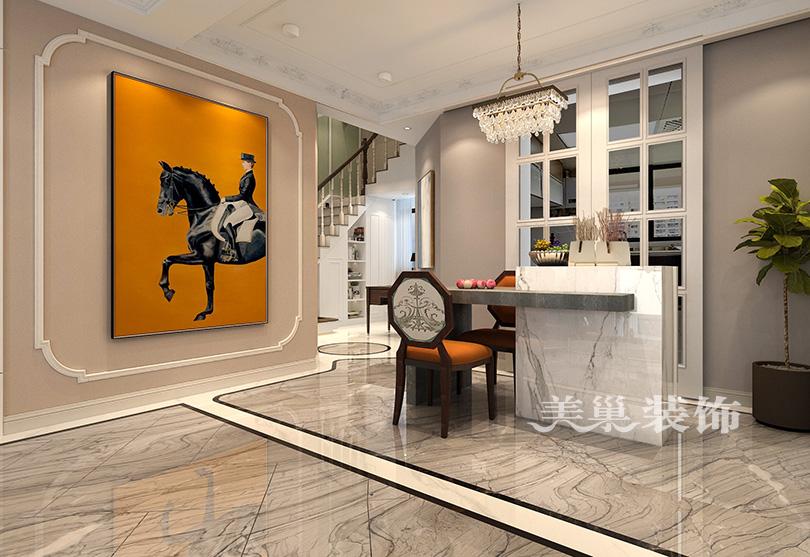 万科城4室2厅ballbet贝博登陆美式轻奢风复式洋房计划——吧台与楼梯机关