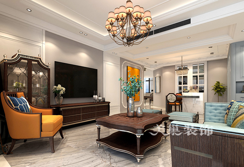 万科城顶层复式户型ballbet贝博登陆案例美式轻奢风四居室——复式电视配景墙