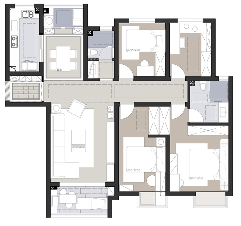 永威迎宾府150平四室两厅户型ballbet贝博登陆计划平面机关图