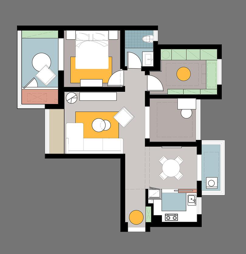 天骄华庭120平三室两厅户型ballbet贝博登陆计划平面机关方案