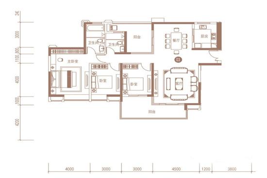 紫荆华庭120平米三居室空间布局图