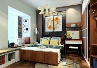 郑州现代中式卧室七星彩开奖案例设计套图