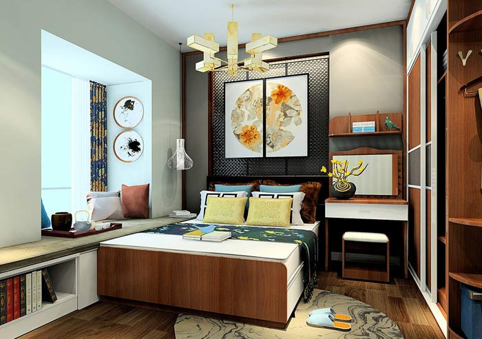 信阳现代中式卧室ballbet贝博登陆案例设计套图
